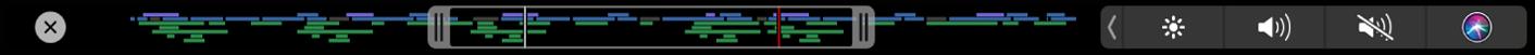 La Touch Bar con el regulador de navegación de la línea de tiempo, que muestra tiradores para ajustar la parte del proyecto que es visible en la línea de tiempo