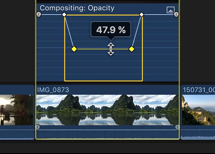 El control horizontal de un efecto en el editor de animación de vídeo mientras se arrastra para ajustar el efecto