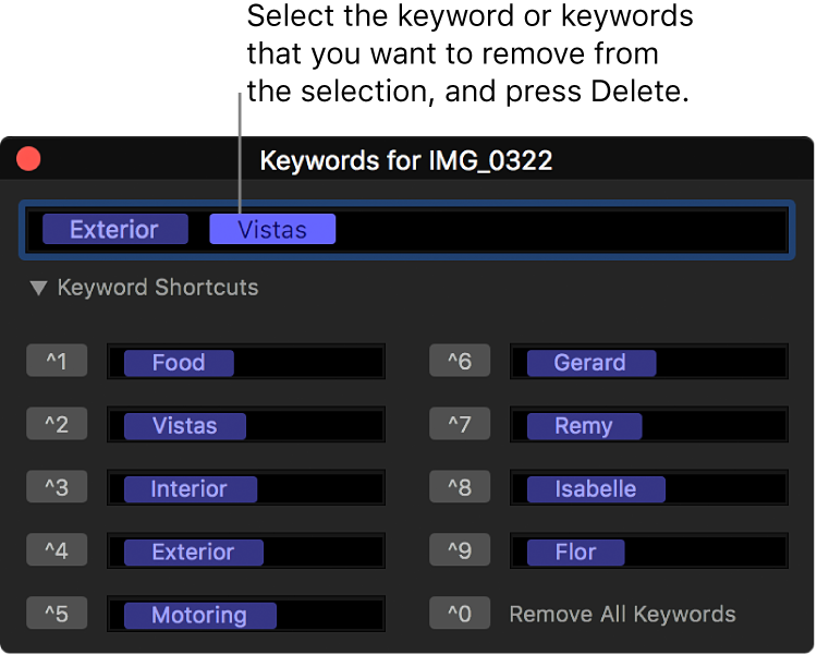 El editor de palabras clave con una palabra clave seleccionada para su eliminación