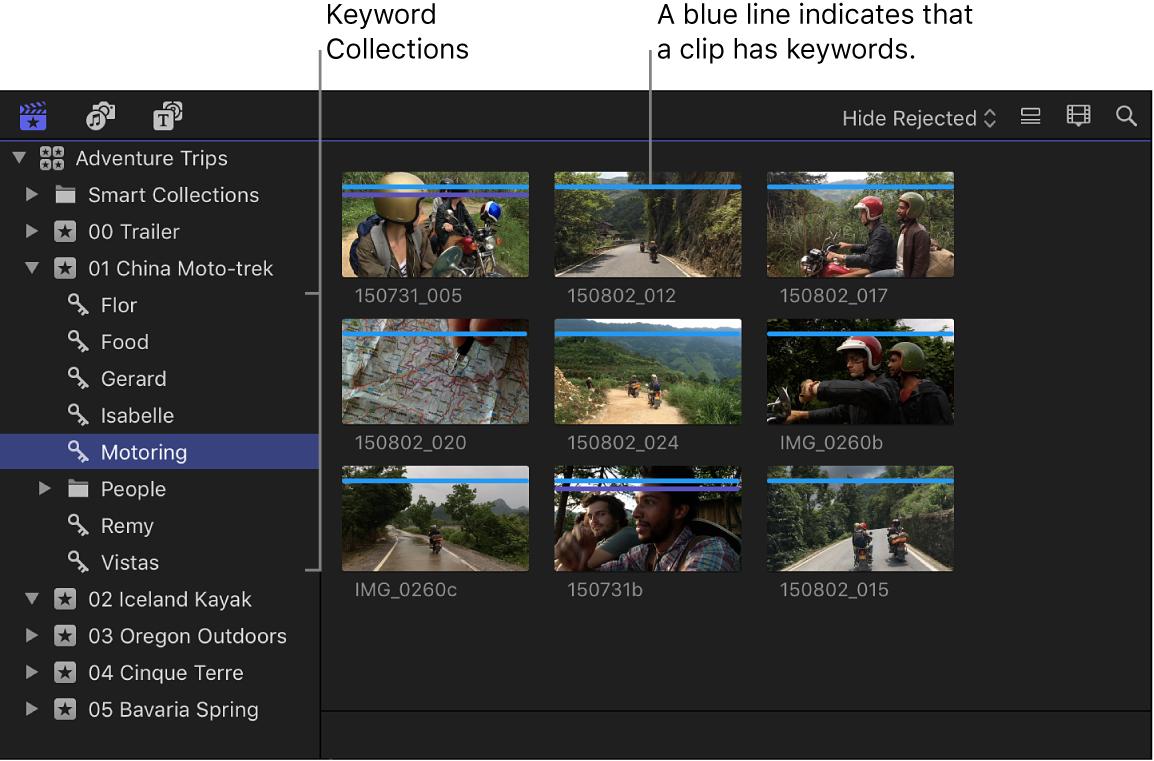 El explorador y clips en la colección por palabra clave seleccionada en la barra lateral de bibliotecas