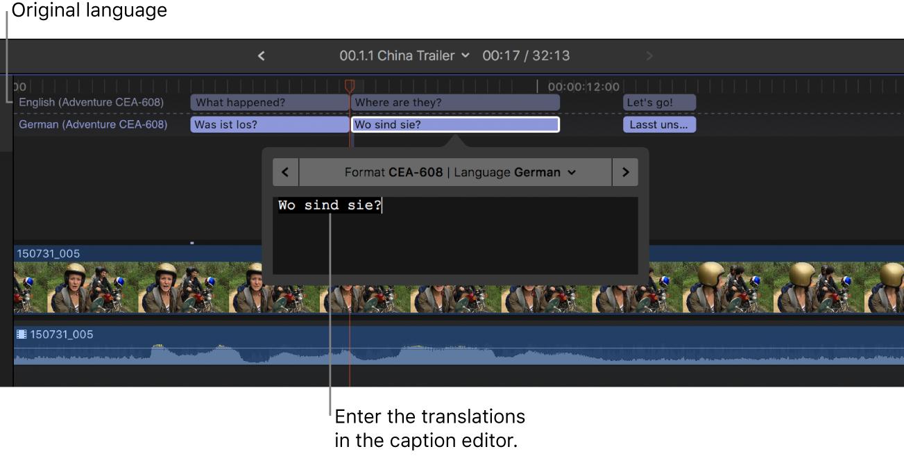 Editor de subtítulos con una traducción al alemán de un subtítulo duplicado seleccionado