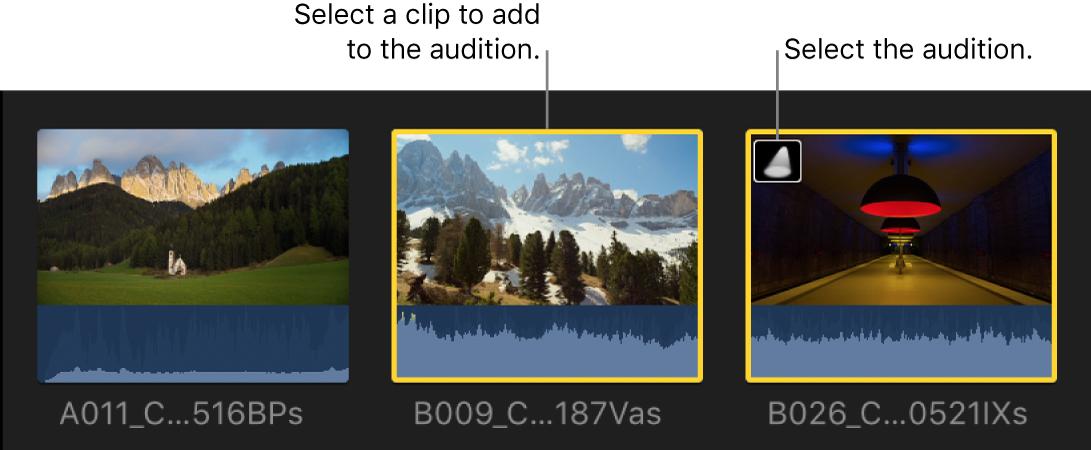 Un clip y una audición seleccionados en el explorador