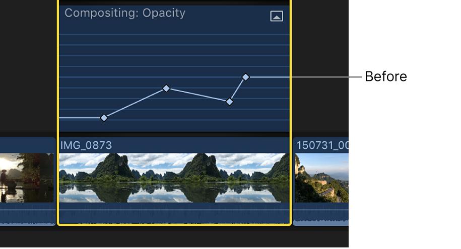 Una curva de fotogramas clave en el editor de animación de vídeo antes del ajuste
