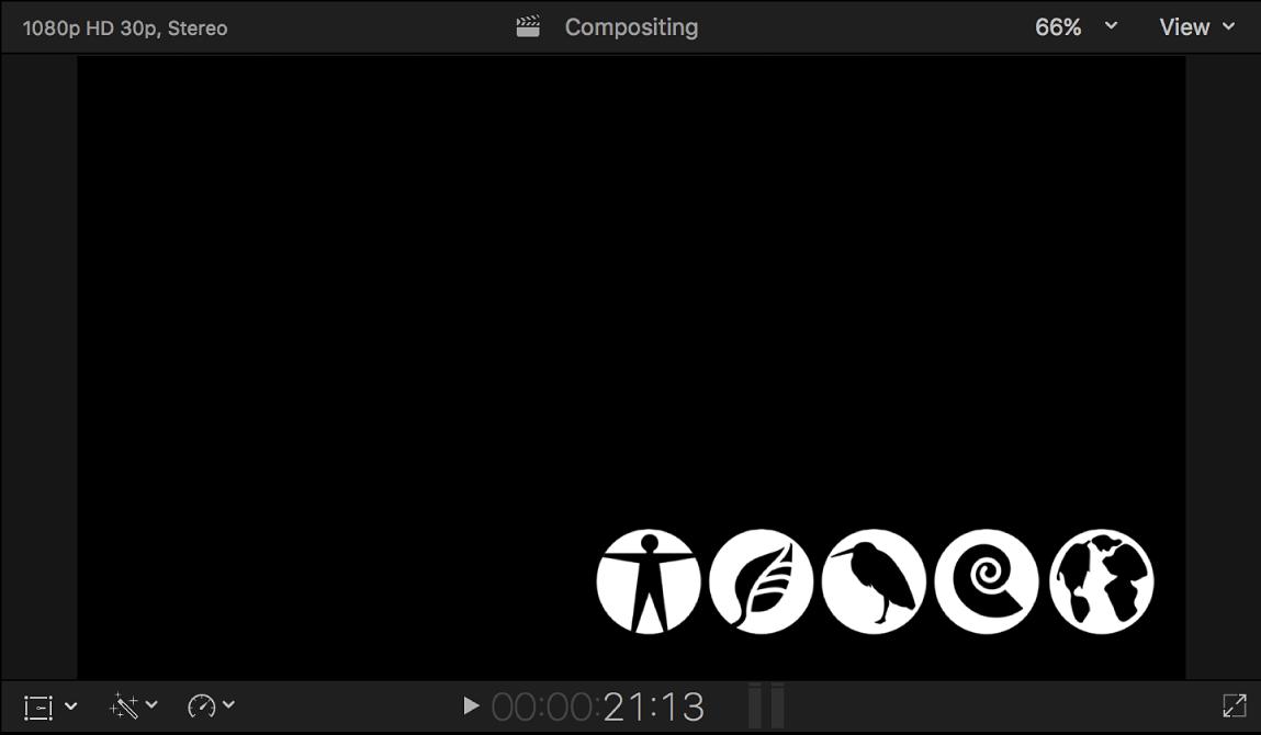 Visor mostrando la imagen de transición del canal alfa