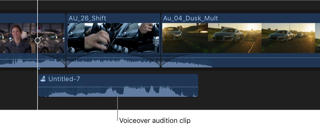 Línea de tiempo con un clip de audición creado a partir de varias tomas de voz en off