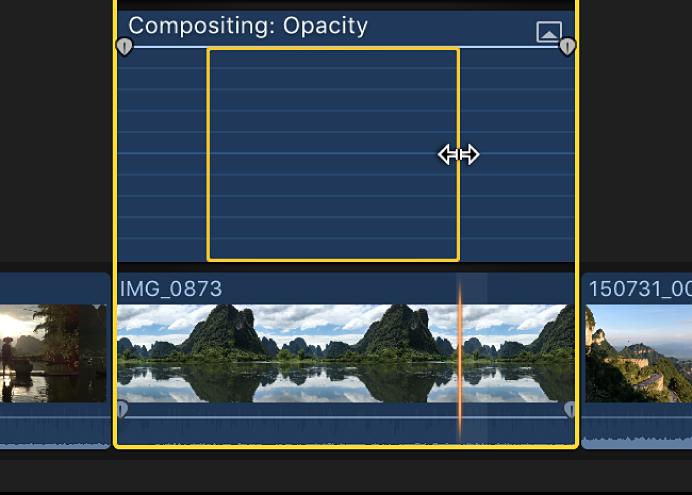 """Se ha seleccionado un intervalo en el editor de animación de vídeo mediante la herramienta """"Selección de intervalo"""""""