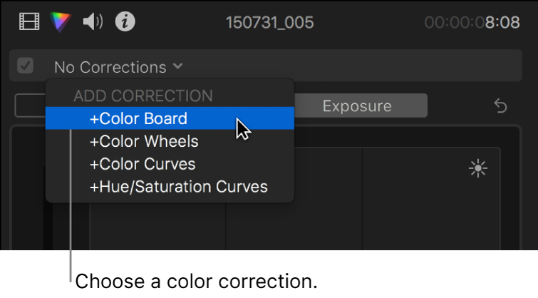 """Opción """"Tablero de colores"""" seleccionada en la sección """"Añadir corrección"""" del menú desplegable de la parte superior del inspector de color"""