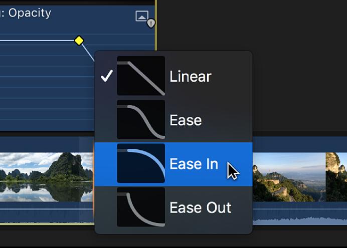Opciones de la forma de curva en un menú de función rápida del editor de animación de vídeo