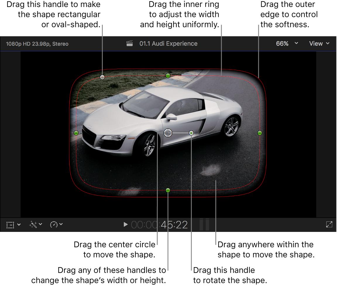 Masque de forme par défaut et commandes à l'écran dans le visualiseur