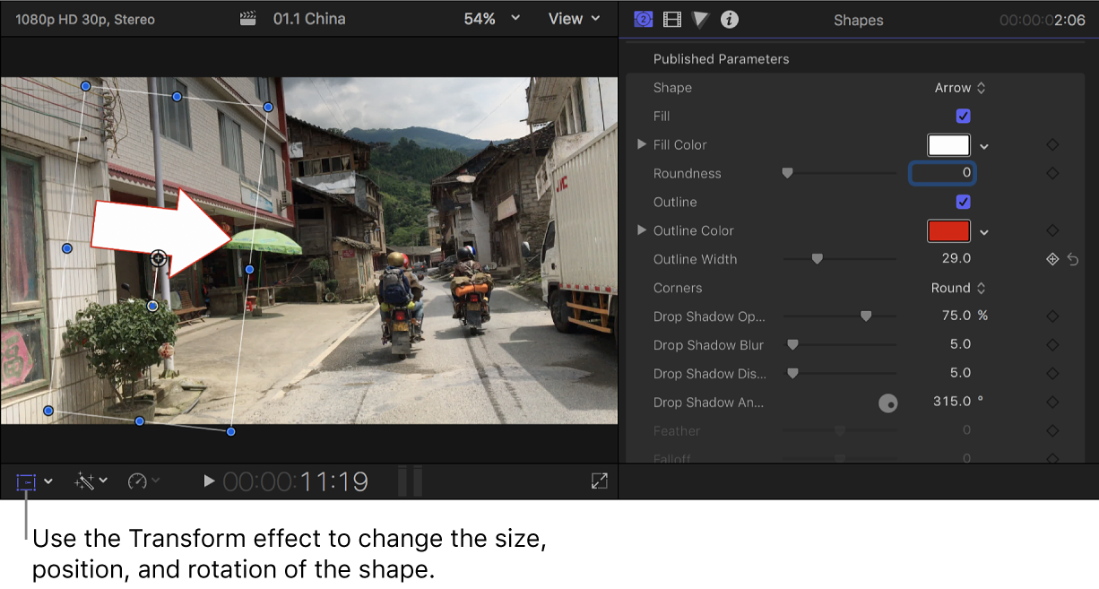 Visualiseur à gauche montrant une flèche superposée sur l'image vidéo, et inspecteur de générateur à droite reprenant les réglages du plan de générateur de formes