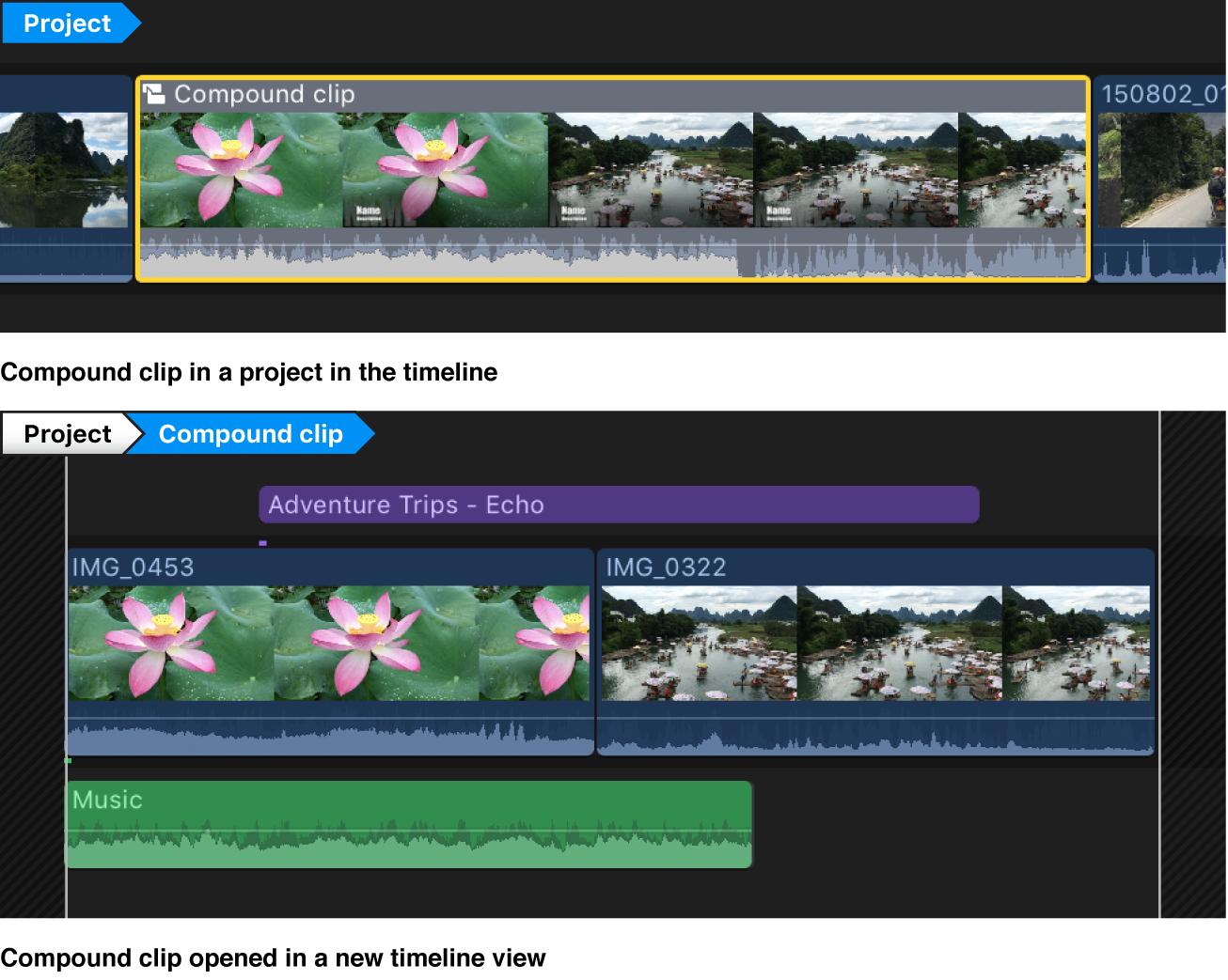 Un plan composé avant et après son ouverture dans une nouvelle instance de la timeline