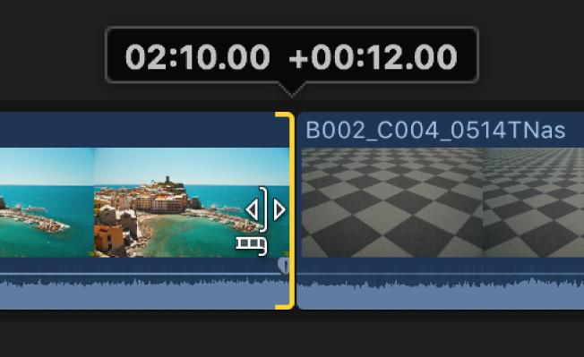 Champ de timecode numérique affiché au-dessus du point de montage pour indiquer la durée du montage