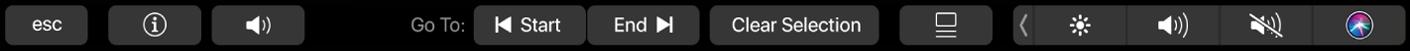 TouchBar affichant les commandes pour le navigateur lorsqu'un élément est sélectionné