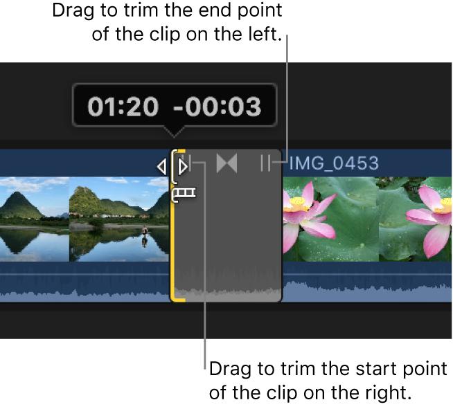 Glissement de l'icône d'élagage de gauche de la transition pour élaguer au point de départ du plan situé à droite de la transition