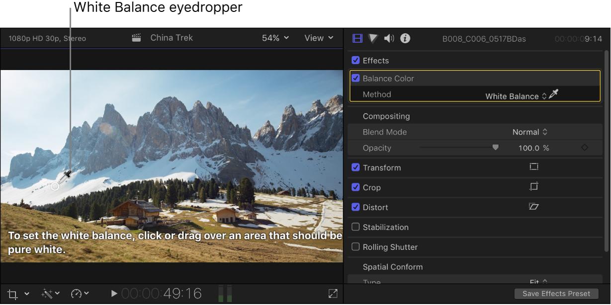 Réglage Balance des couleurs dans l'inspecteur vidéo et pipette Balance des blancs dans le visualiseur
