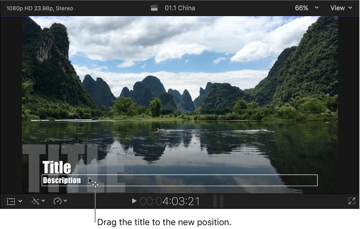Glissement du texte de titre vers un nouvel emplacement dans le visualiseur