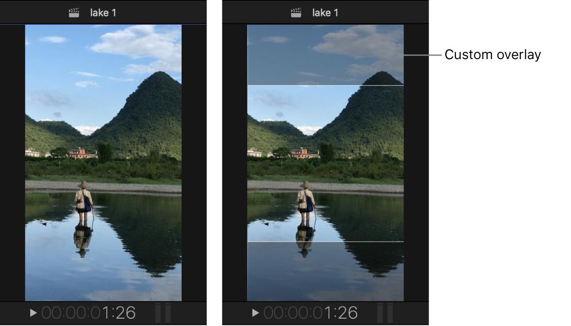 Visualiseur à gauche montrant un projet à la verticale, et le même projet à droite avec une incrustation personnalisée créant une zone sécurisée avec des proportions carrées