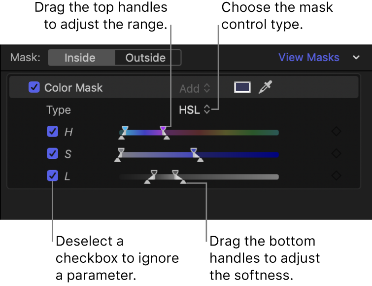 Section Masque de couleur de l'inspecteur avec le menu local Type défini sur TSL et les commandes de paramètre Teinte, Saturation et Luminance en dessous. Chaque paramètre dispose d'une case pour l'activation ou la désactivation du paramètre et de curseurs dotés de poignées en haut et en bas pour l'ajustement du paramètre.