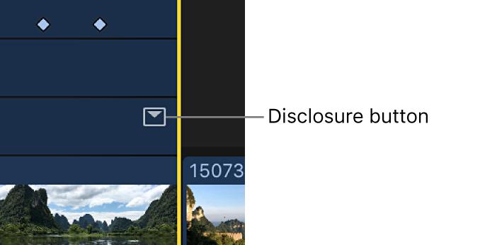 Triangle d'affichage d'un effet dans l'éditeur d'animation vidéo