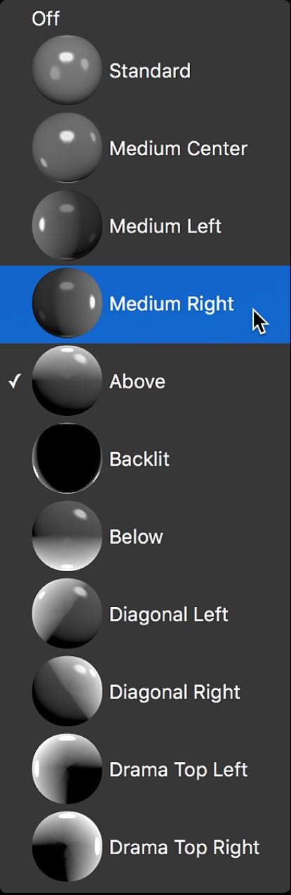 Menu local Style d'éclairage de la section Éclairage de l'inspecteur de texte, avec option Milieu droit sélectionnée