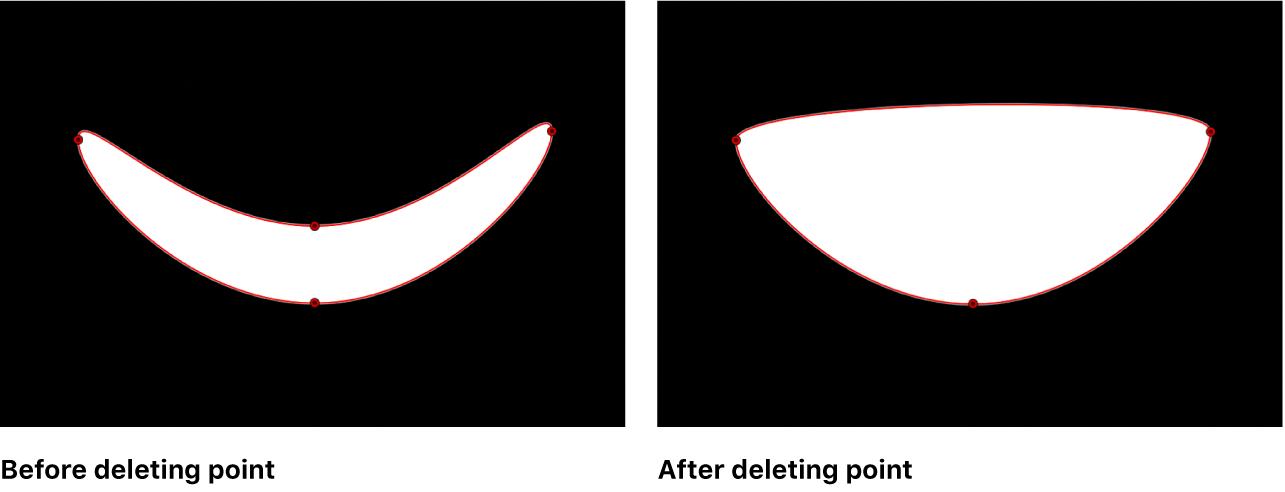 Visualiseur affichant une forme de masque avant et après la suppression d'un point de contrôle
