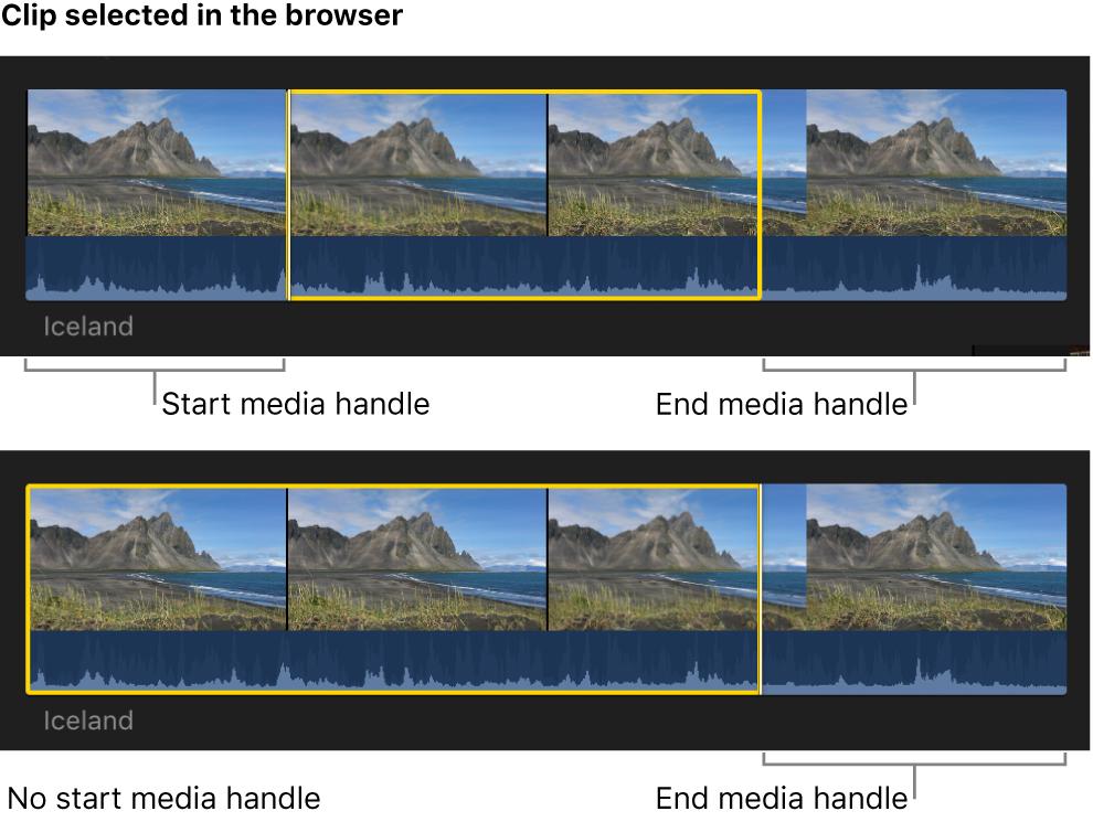Sélection dans le navigateur avec des poignées multimédias aux deux bords, et autre sélection sans poignée multimédia de départ