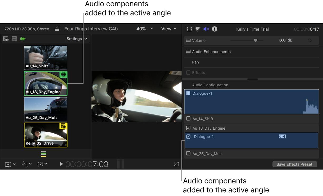 Composants audio ajoutés affichés en surbrillance dans le visualiseur d'angle et l'inspecteur audio
