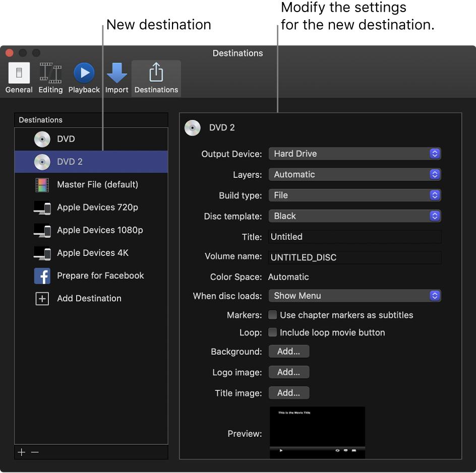 Fenêtre Destinations de la fenêtre Préférences montrant une destination de DVD dupliqué, sélectionnée dans la liste de gauche