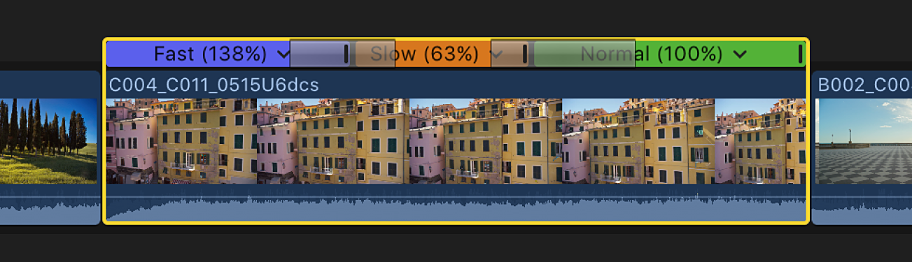 Timeline affichant un plan avec des transitions vitesse appliquées entre tous les segments de vitesse