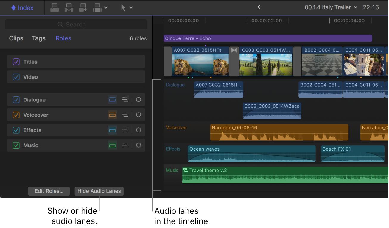 Index de la timeline, après que le bouton Afficher les files audio ait été cliqué, et timeline avec toutes les files