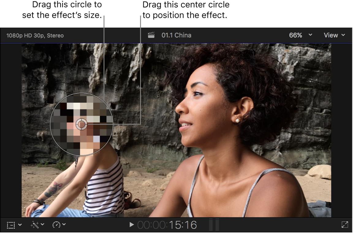 Visualiseur affichant les commandes à l'écran de l'effet Censurer
