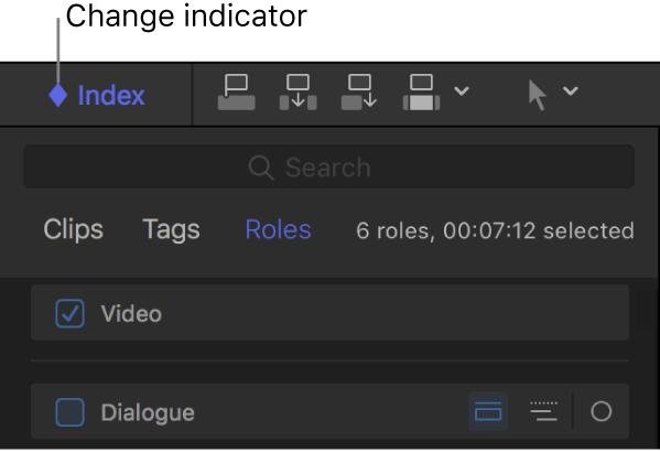 Section supérieure de l'index de la timeline montrant dans le bouton Index l'indicateur de changement en forme de losange