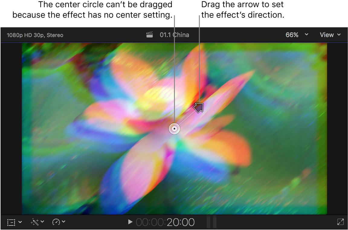 Visualiseur affichant les commandes à l'écran de l'effet Prisme