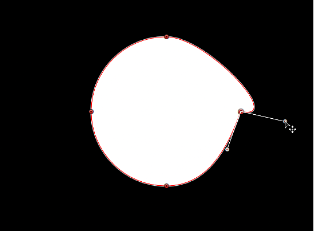 Visualiseur affichant une poignée de tangente en rotation indépendamment de la poignée de tangente opposée