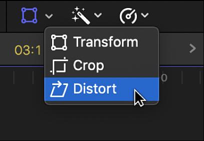 Élément de menu Distorsion permettant d'accéder aux commandes Distorsion