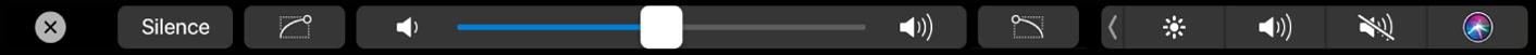 TouchBar affichant des commandes audio