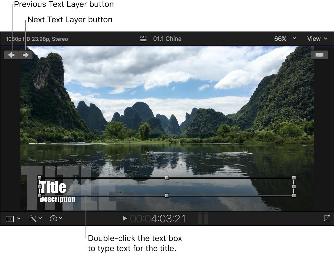 Texte du titre en cours de modification dans le visualiseur
