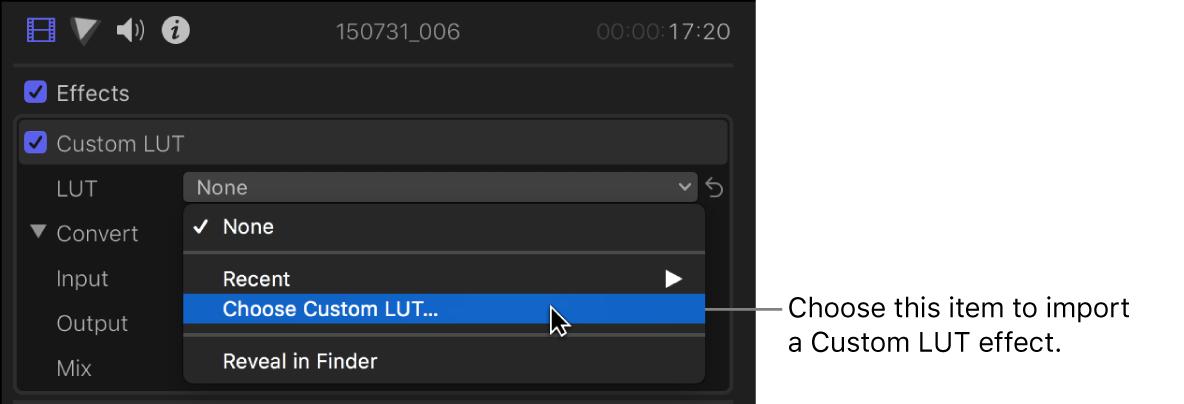 「ビデオ」インスペクタの「カスタムLUT」セクションにある「LUT」ポップアップメニューで「カスタムLUTを選択」が選択されている
