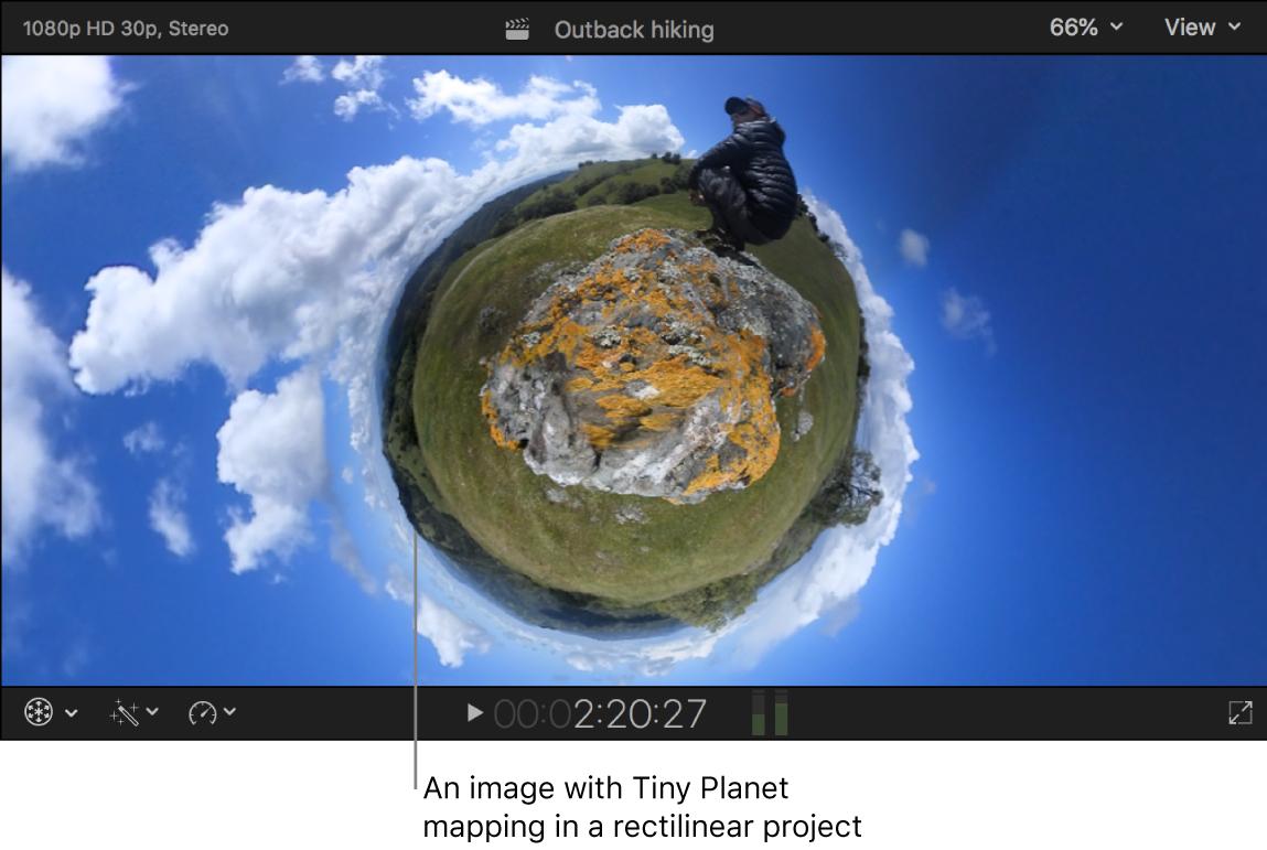 「タイニープラネット」マッピングを使って中心で小さい球体のようなエフェクトを作り出したイメージが表示されたビューア