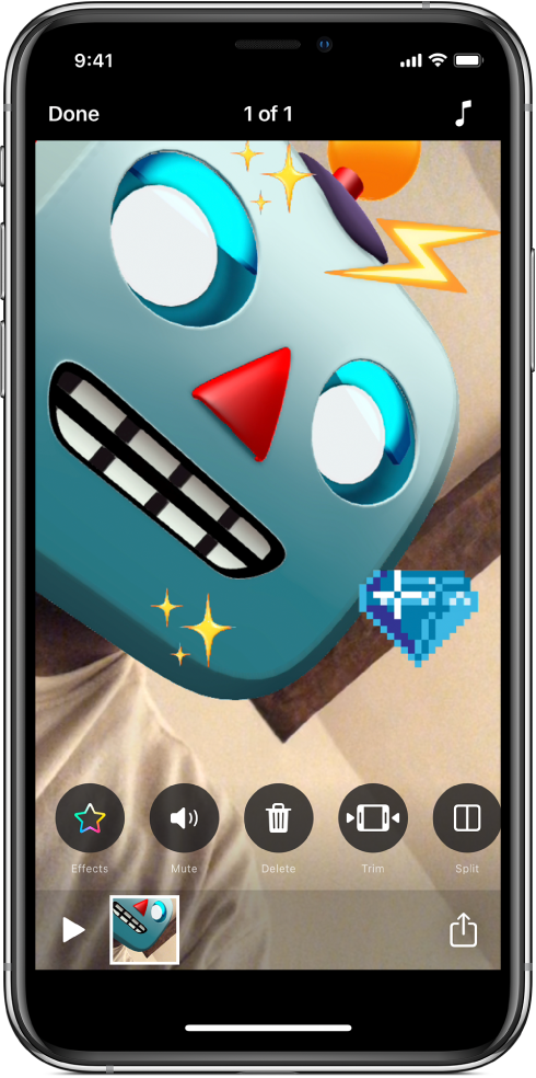 A robot Memoji in the viewer with stickers added.