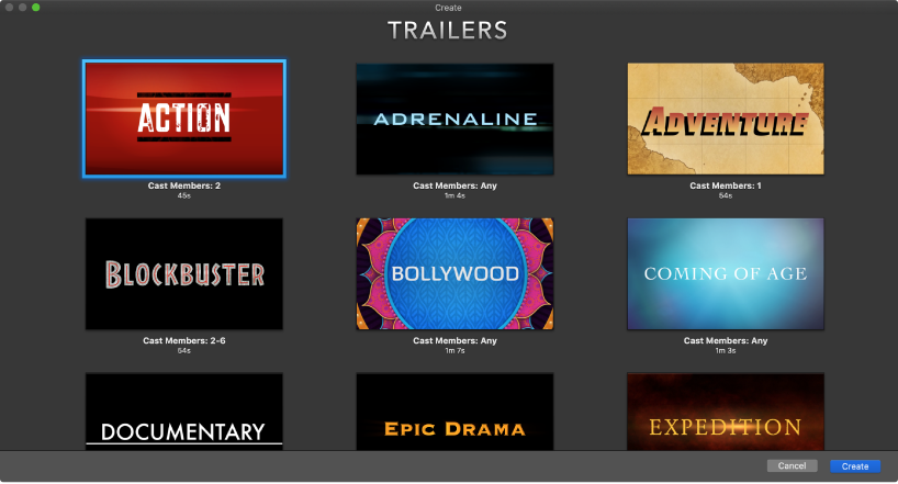 Create window showing thumbnails of trailer templates