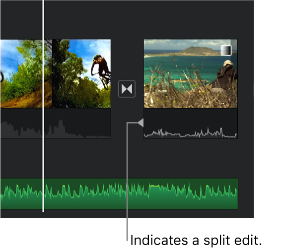 A split edit indicator appearing in the audio portion of a transition in the timeline.