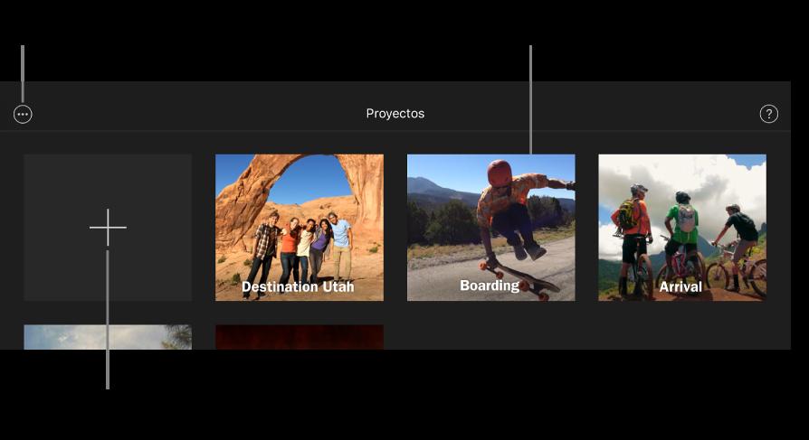 """Proyectos en el explorador de proyectos con los botones de """"Crear"""" y """"Más opciones"""" en la parte superior izquierda."""