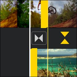 El editor de precisión abierto en la línea del tiempo, mostrando partes de clips atenuadas antes y después de una transición.