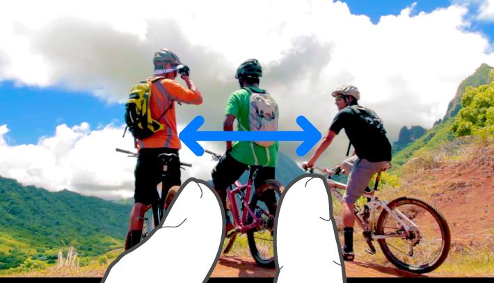 Una ilustración que muestra cómo pellizcar con ambos dedos para acercar o alejar.