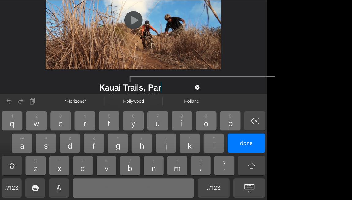 El título de un proyecto en proceso de edición, el teclado se muestra abajo.