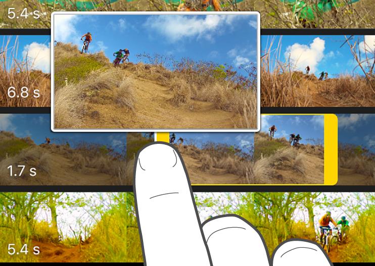 Un clip de video recortado en el explorador de contenido multimedia.