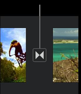 Icône indiquant une transition entre deux clips dans la timeline.