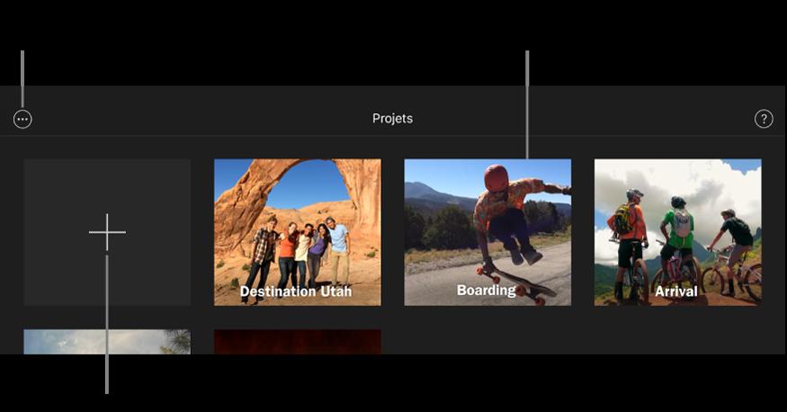 Projets disponibles dans le navigateur de projets, avec les boutons Créer et Plus d'options en haut à gauche.