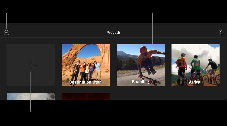 """Progetti nel browser Progetti, con i pulsanti Crea e """"Ulteriori opzioni"""" in alto a sinistra."""